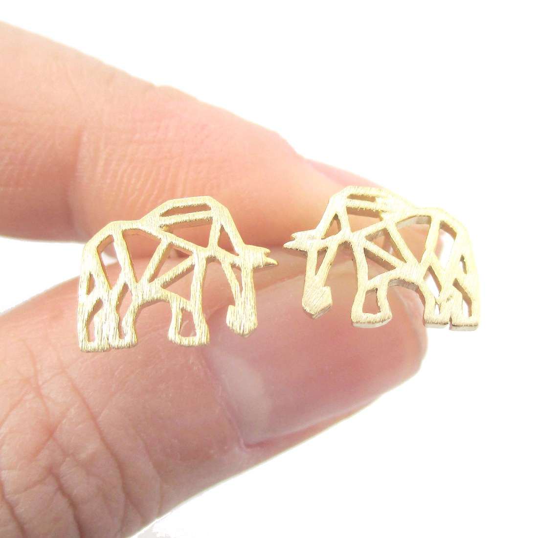 Elephant Origami Outline Shaped Allergy Free Stud Earrings In Gold