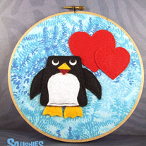 Felt Hoop Art- Cummerbund the Penguin