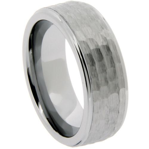 men 39 s 8mm tungsten wedding band ring hammered finish j On hammered tungsten wedding bands