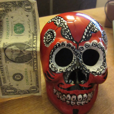Red day of the dead skull