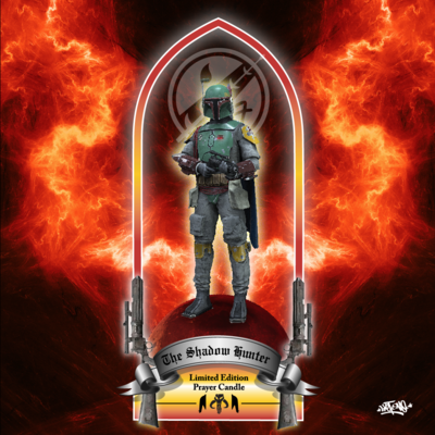 """the shadow hunter"" boba fett 8"" prayer candle red"