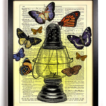 Image of Where Butterflies Gather, Vintage Dictionary Print, 8 x 10