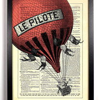 Image of Big Red Hot Air Balloon, Vintage Dictionary Print, 8 x 10