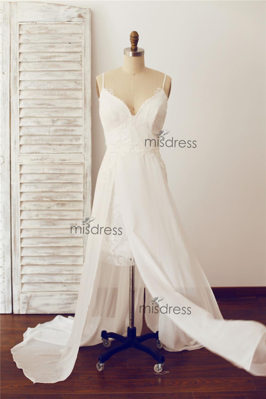 Wedding Dress Thin Lace Straps : Lace chiffon thin straps wedding dresses bridal gown