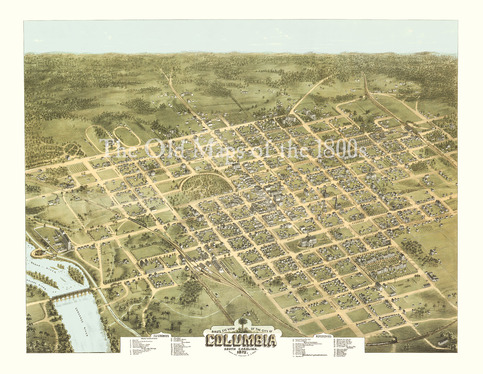 Columbia south carolina in 1872 bird 39 s eye view map for Craft stores columbia sc