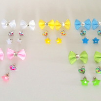 3-in-1 pastel white yellow blue pink OR green bow plastic star lightning heart earrings set - you choose