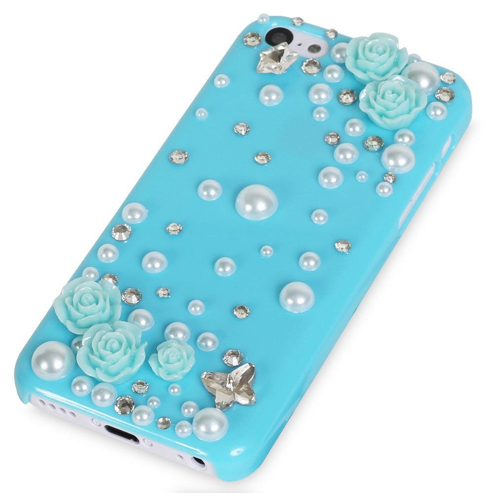 Iphone 5c delicate 3d pearl crystal bling case in for Case 3d online