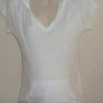 White Hooded Short Sleeve Shirt-One Step Up Maternity Size Large  GS513