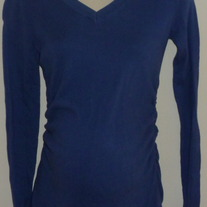 Long Sleeve Blue Sweater with Ruched Sides-Liz Lange Maternity Size XS  GS513