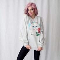 Oversized Kitty Crewneck Sweater