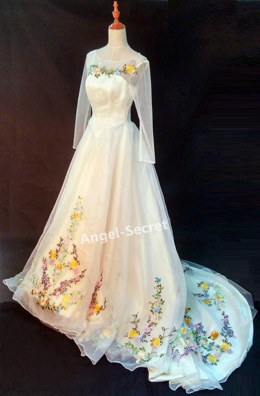 P305 Movie Costume Cinderella 2015 Ivory Gown Wedding Bridal 100cm Long  Train   Thumbnail 1 ...
