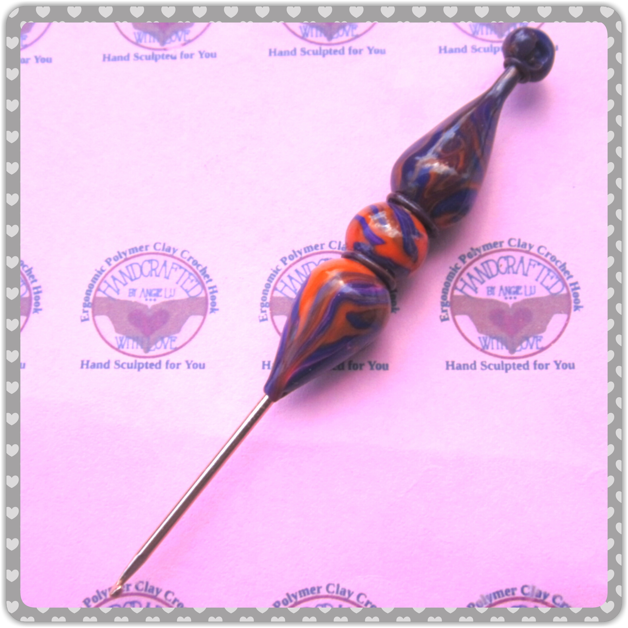 Marbled Glam Crochet Hook Size B Boye Brand Ready To Ship By