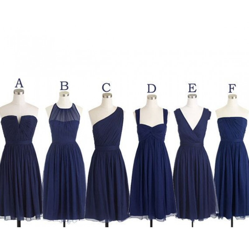 navy bridesmaid dresses, short bridesmaid dress, mismatched ...