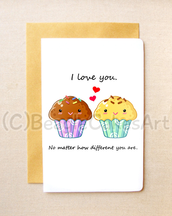 "cool valentine's day gifts for your crush - Cute Muffin Couple 4x6"" Inch Notecard Kawaii Cupcake"