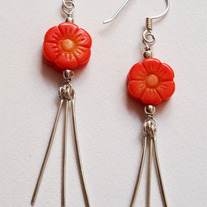 Coral Blossom Silver Earrings by Lucy in the Sky with Fashion