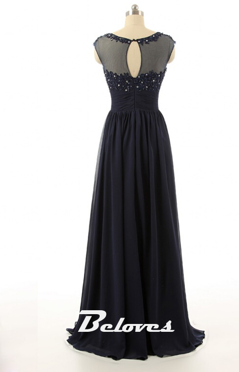 2016 Navy Blue illusion Prom Dress With Lace Appliques Bodice ...