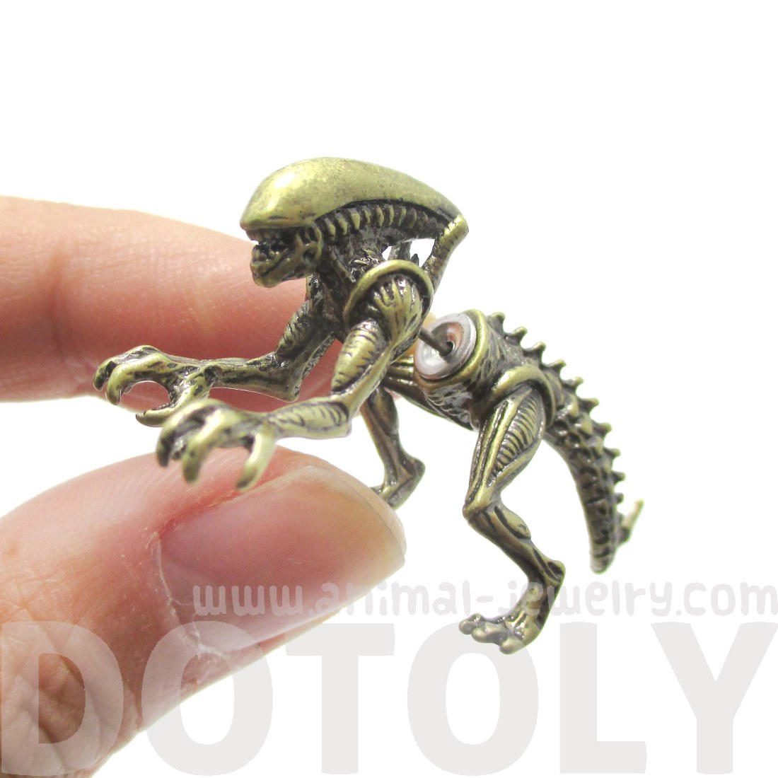 Predator Avp Xenomorph Shaped Front And Back Stud Earrings In Brass   Thumbnail
