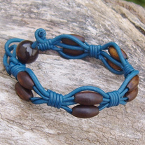 Blue Leather Horn Bead Bracelet