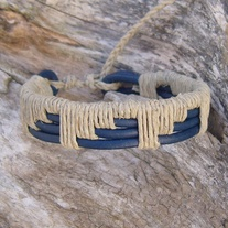 Woven Blue Leather and Natural Hemp Bracelet