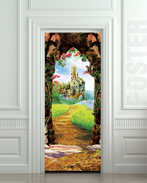Wall door sticker castle cave cavern grotto mural decole for Door wall mural
