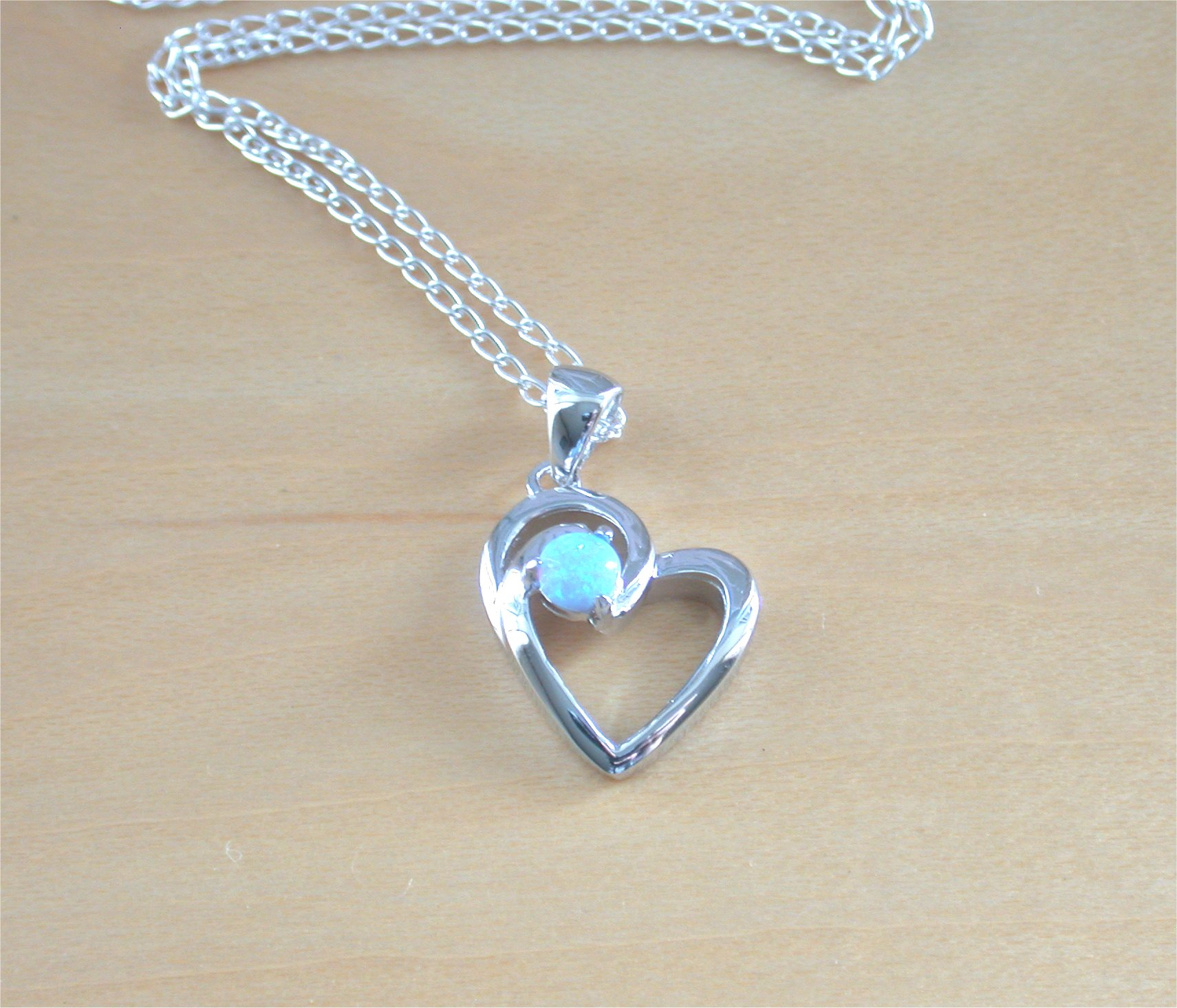 925 blue opal heart pendant 18 silver chainopal necklaceopal 925 blue opal heart pendant 18 silver chainopal necklaceopal jewellery aloadofball Choice Image