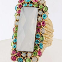 Long Jewel Fashion Ring - Multi Colored & Gold