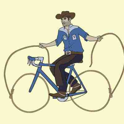 Cowboy riding bike with lasso wheels 5x7 print
