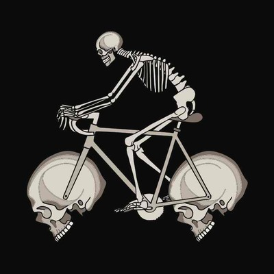 Skeleton riding bike with skull wheels 5x5 print