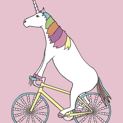 Unicorn riding bike with unicorn horn spoked wheels 5x7 print