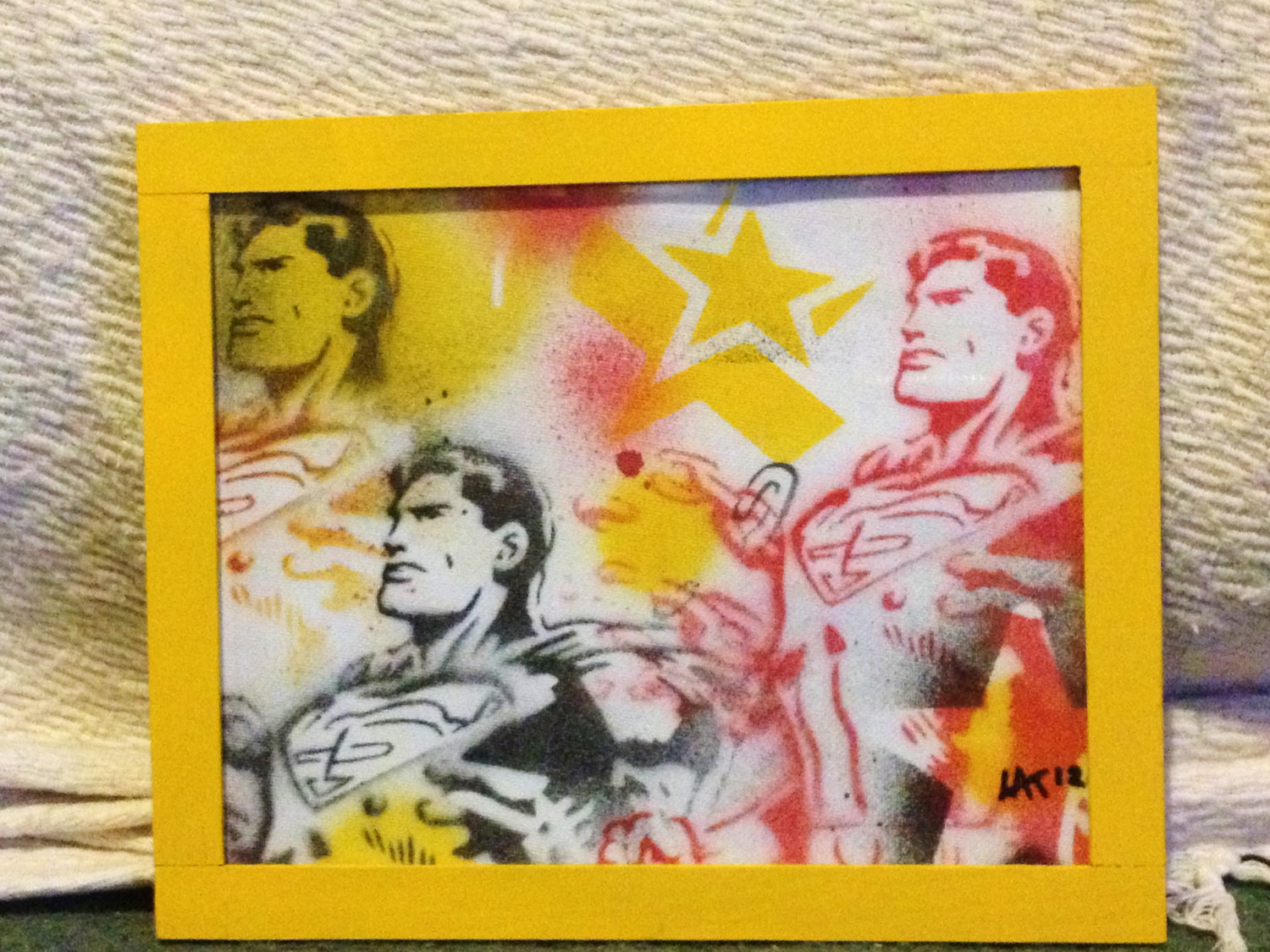 Superman framed painting,yellow,stencil art,superheros,dc comics,pop ...