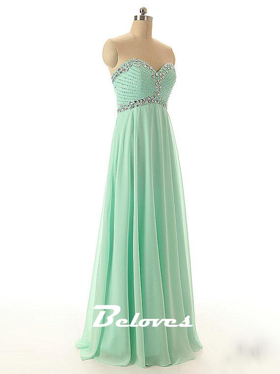 mint green chiffon beaded sweetheart prom dress 183 beloves