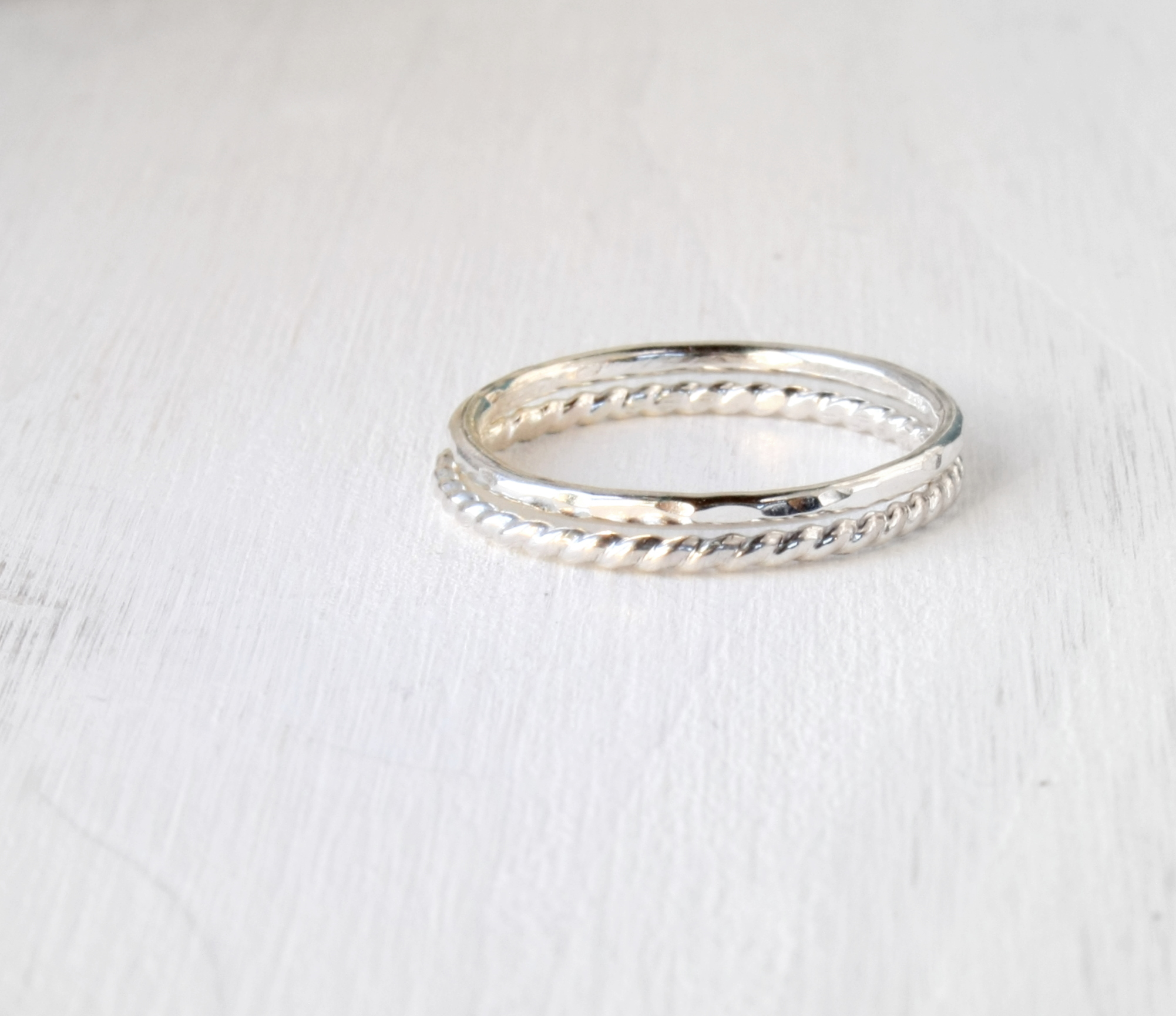 Stacking silver rings / twisted wire stacking rings in shiny silver ...