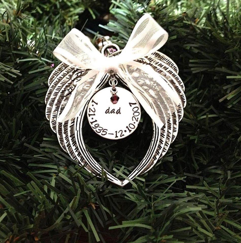 Hand Stamped Christmas Ornament Angel Wings With Swarovski Crystal  Birthstone
