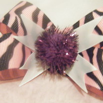 Pink Zebra velcro bow with pom