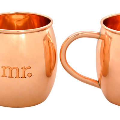 "Set of 2 ""mr."" and ""mrs."" etched barrel shape copper mugs - Thumbnail 3"