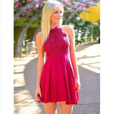Red High Neck Short Formal Dresses