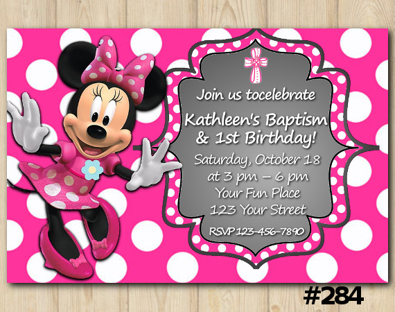 Minnie Mouse Birthday Invitation 284 DIY Party Printables