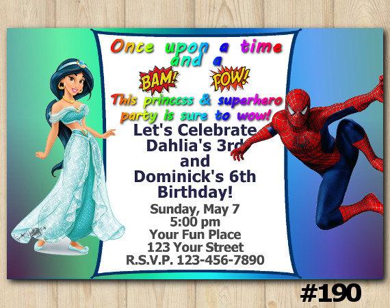 TWINS BIRTHDAY INVITATION Princess Jasmin Spiderman Boy Girl Birthday Sibling