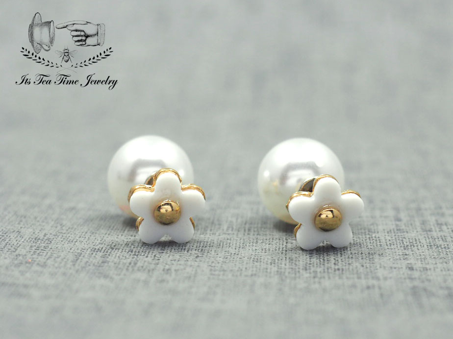 Pearl and white flower stud earrings front and back pearl earring pearl and white flower stud earrings front and back pearl earring simple chic cute mightylinksfo