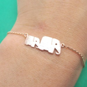 Classic Elephant Mother and Baby Family Charm Bracelet in Rose Gold