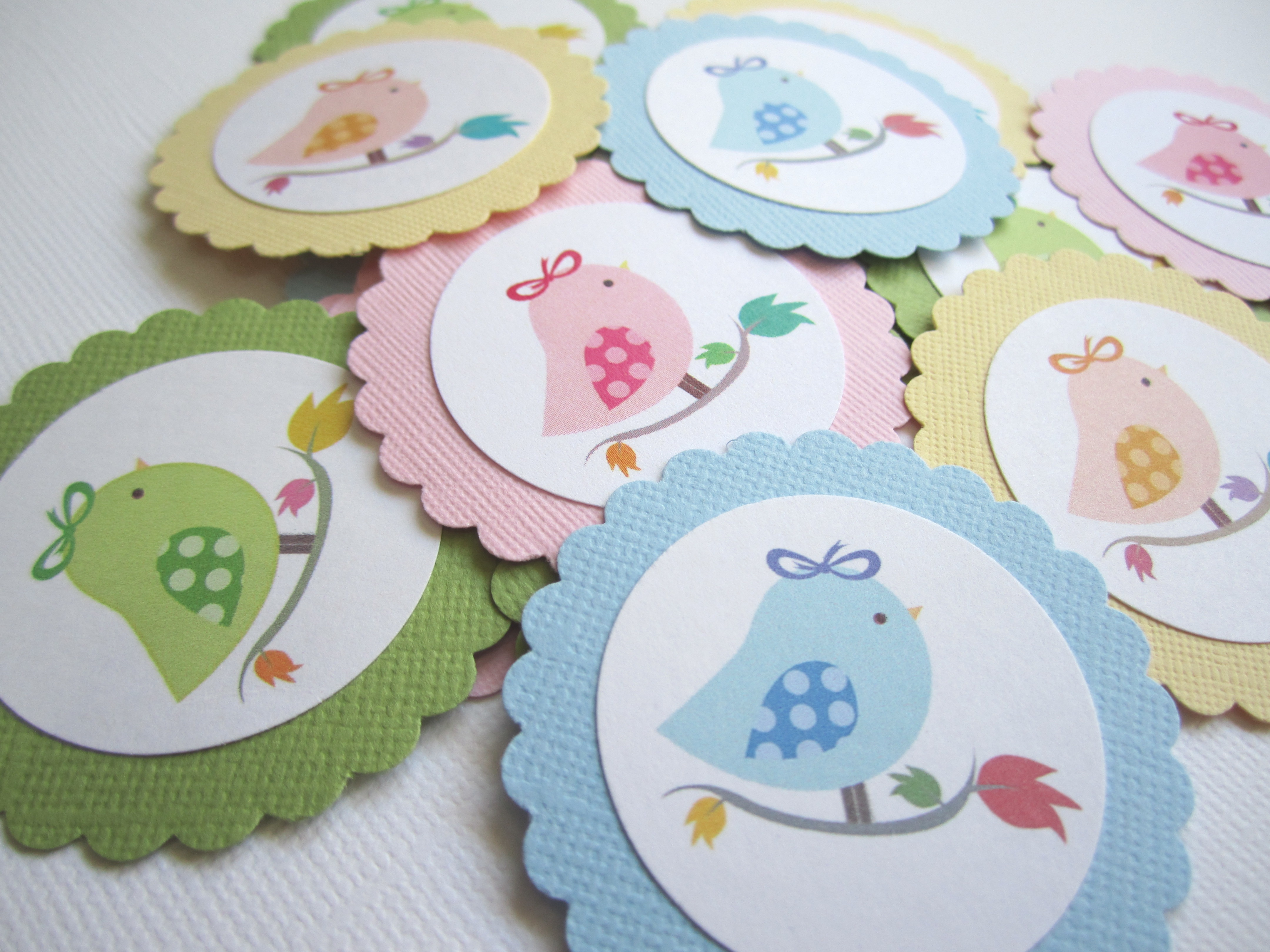 Cute Bird Gift Tags for Baby Shower and Birthday Party Favors