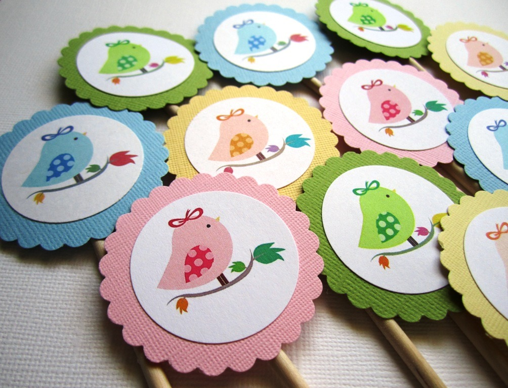 Cupcake Toppers : Cute Bird Cupcake Toppers Party ? Adorebynat ? Online ...