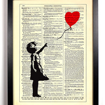 Image of Banksy Balloon Girl, Vintage Dictionary, 8 x 10