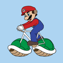 Mario riding bike with turtle shell wheels, 5x5 print