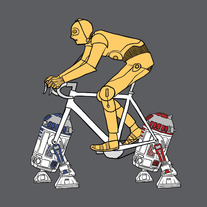 C3PO riding bike with R2D2 and R2D1 wheels, 5x5 print