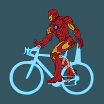 Iron man riding palm laser bike, 5x5 print