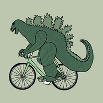 Godzilla on bike, 5x5 print