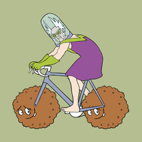 Dr Weird riding bike with Meatwad wheels, 5x5 print