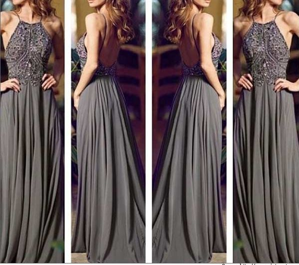 Gray Long Prom Dresses, Straps Prom Gowns,Beaded Evening Dresses ...