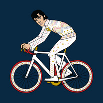 Elvis Presley riding bike with jeweled wheels, 5x5 print